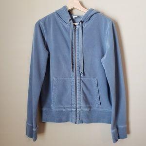 J. Crew Garment Dyed Blue Hooded Sweatshirt M